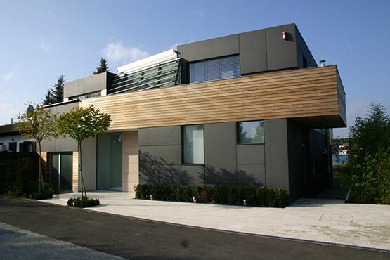 Spezial Fassade fibreC anthrazitgrau Laerche massiv