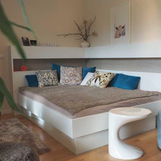 Bett modern nach Maß Compactplatte weiß