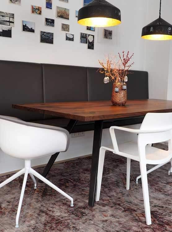 Tisch modern Sitzbank Leder nach Maß