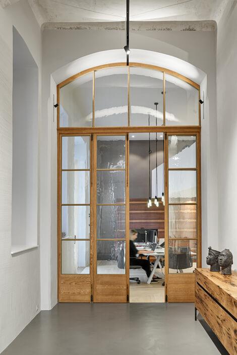 Glas-Flügeltüre historischer Nachbau Eiche Ziehglas